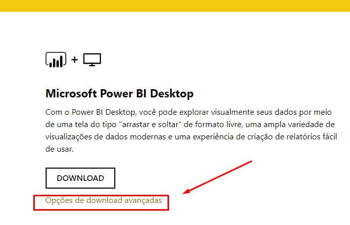 Opções de download para instalar o Power Bi