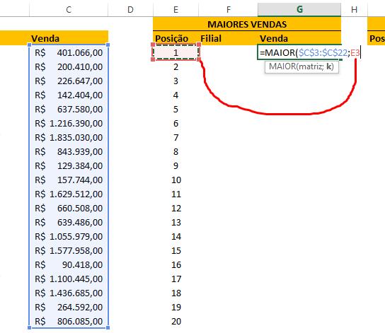 Posição do ranking no Excel