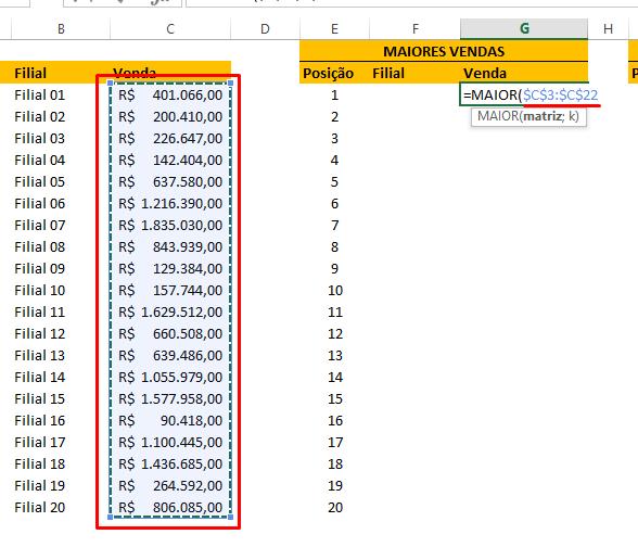 Primeira matriz para ranking no Excel
