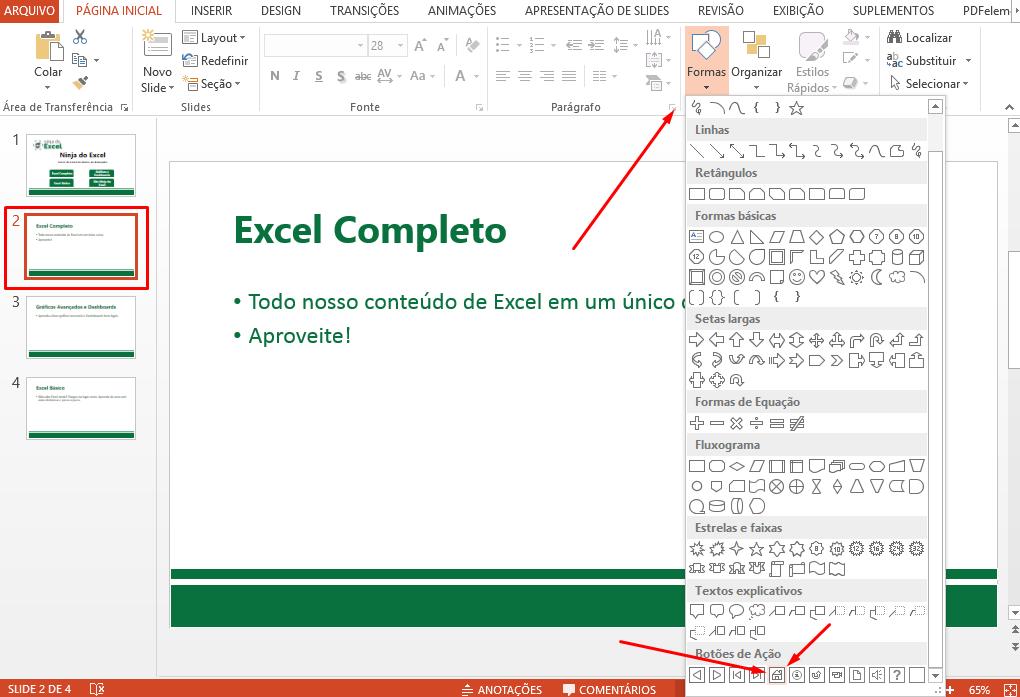 Primeiro slide pra hiperlink no PowerPoint