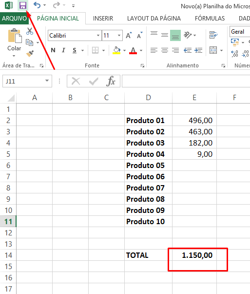 Salvando para cálculo não está automático no Excel