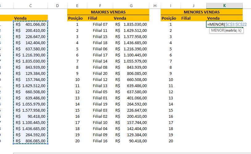 Segunda matriz para ranking no Excel