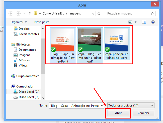 Selecionando para unir e Editar PDF