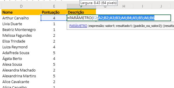 Selecionando todos da Função PARÂMETRO no Excel