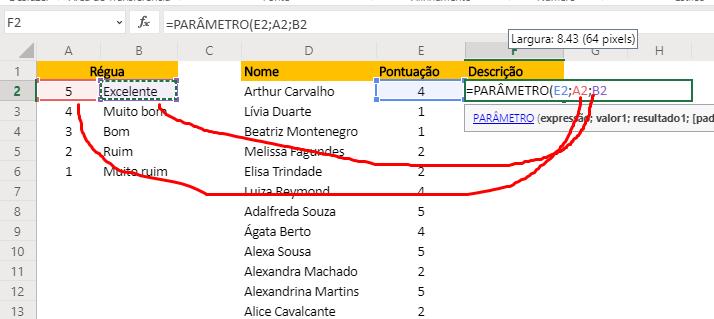 Valor e resultado 1 da Função PARÂMETRO no Excel