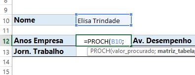 Valor procurado da Função PROCH no Excel