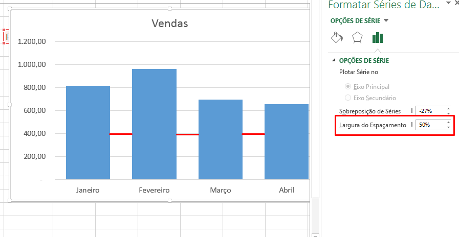 50% para aproximar colunas do gráfico no Excel