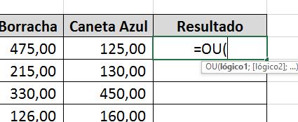 Abrindo a Função OU no Excel