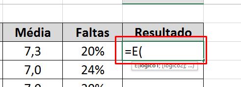 Abrindo a função E no Excel