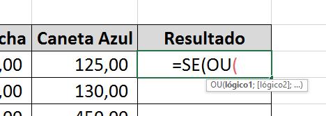 Chamando função OU em funções SE E e OU no Excel