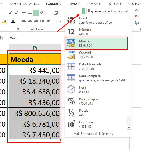 Colocando Moeda para diferença entre Moeda e Contábil no Excel