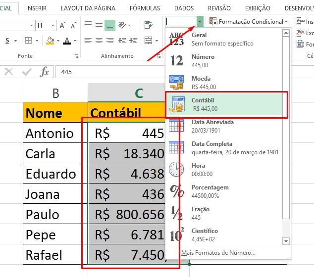 Colocando contábil para diferença entre Moeda e Contábil no Excel