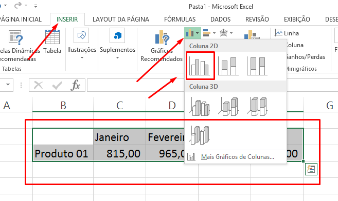 Criando o gráfico para aproximar colunas do gráfico no Excel