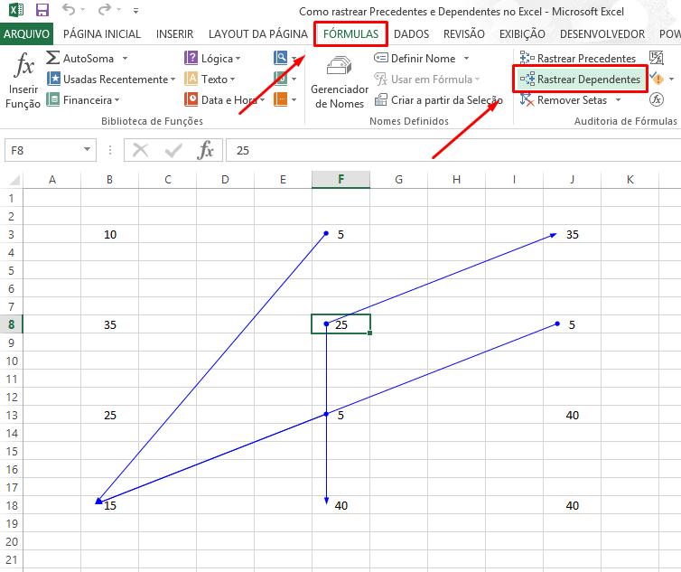 Dependente Como rastrear Precedentes e Dependentes no Excel