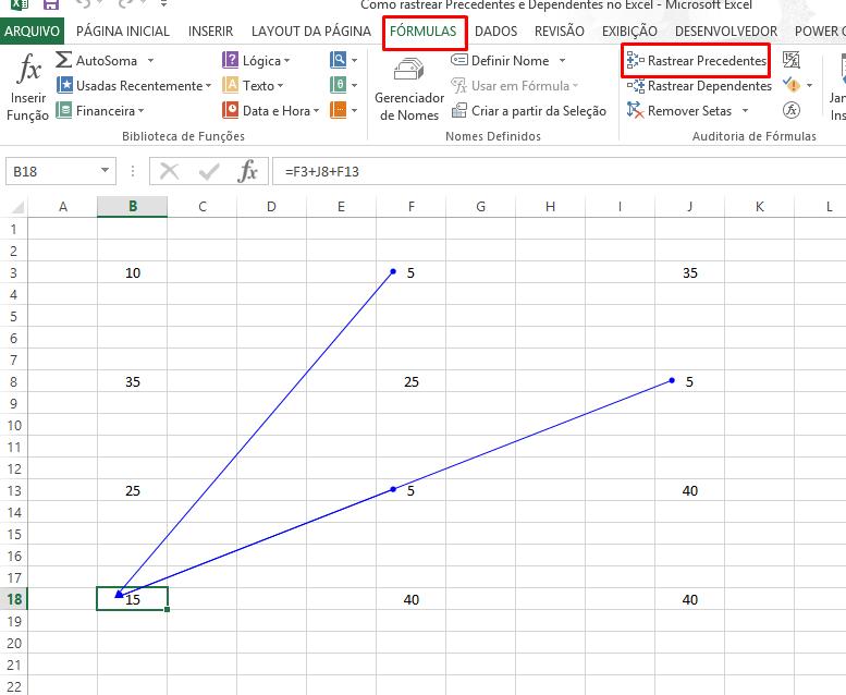 Precendente Como rastrear Precedentes e Dependentes no Excel