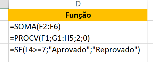 Função para diferença entre Fórmulas x Funções no Excel