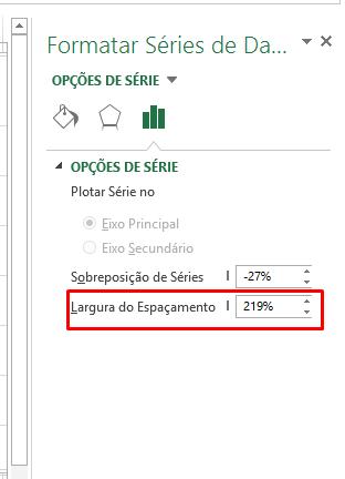 Largura padrão para aproximar colunas do gráfico no Excel