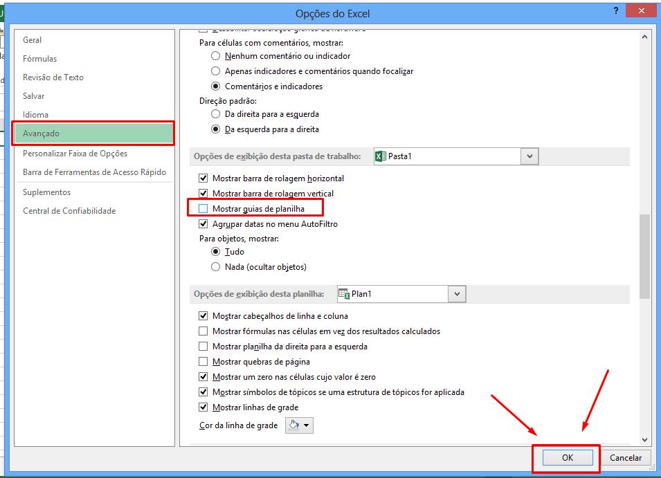 Opções do Excel para Ocultar Guias de Planilhas no Excel