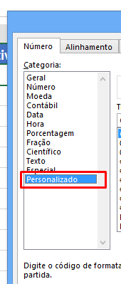 Personalizado para formatar célula para negativo no Excel