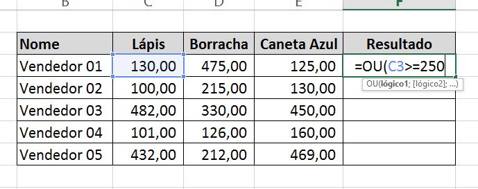 Primeiro resultado da Função OU no Excel