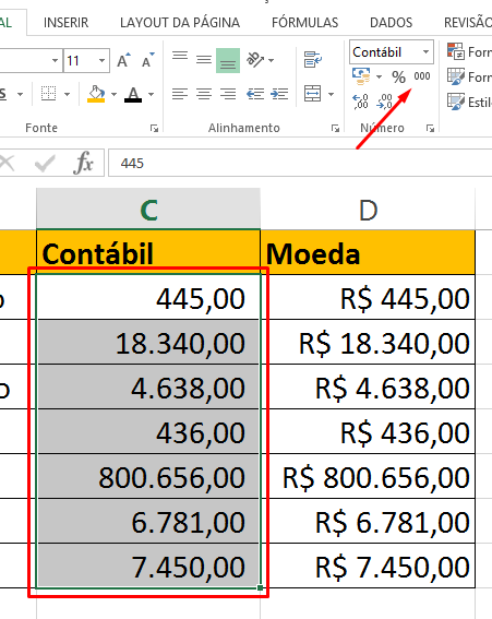 Separados de Milhares para Diferença entre Moeda e Contábil no Excel