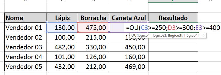 Terceiro argumento da Função OU no Excel