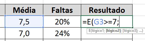 Teste 1 na função E no Excel