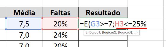 Teste 2 na função E no Excel