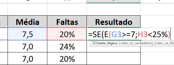 Testes lógicos de E para funções SE E e OU no Excel