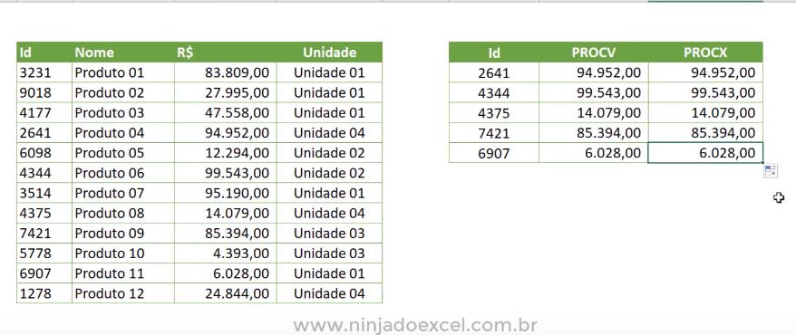 Todos os resultados da função PROCX