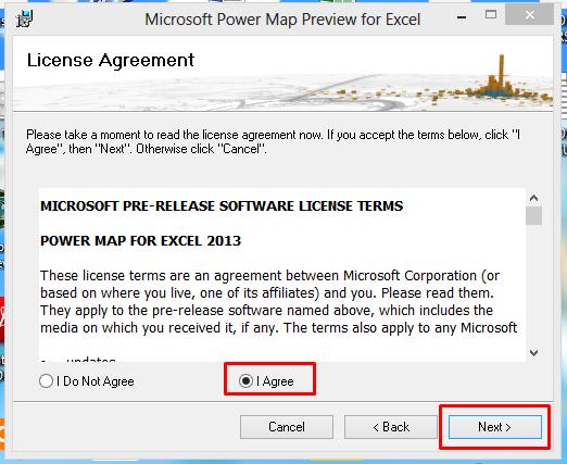 Aceitando os termos para instalar o gráfico de mapa no Excel