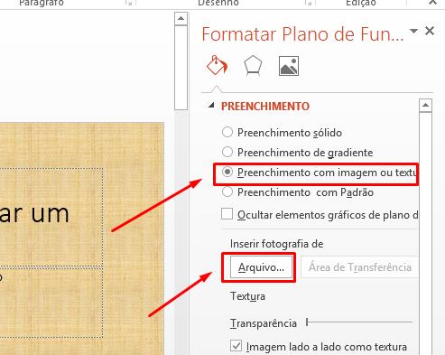 Arquivo para imagem no PowerPoint como plano de fundo