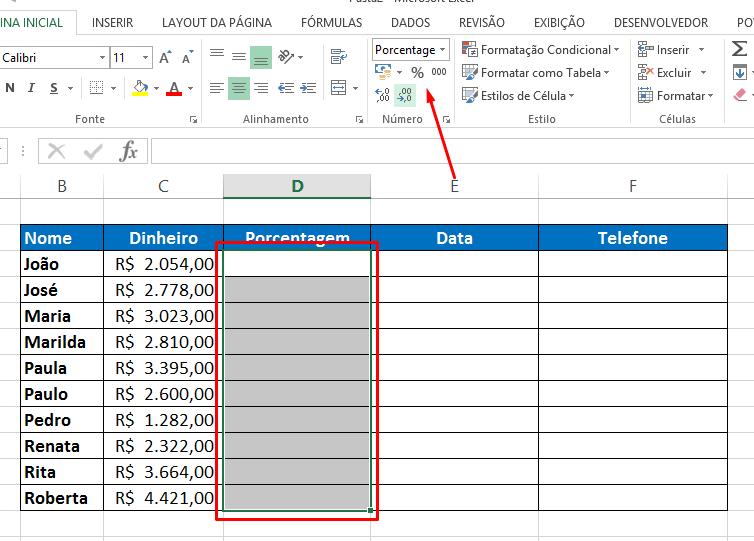 Botão Porcentagem para Formatar Célula no Excel