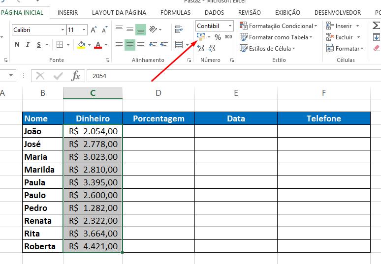 Botão contábil para Formatar Célula no Excel