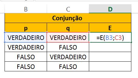 Conjunção de Tabela Verdade no Excel