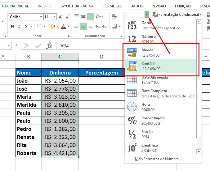 Contábil para Formatar Célula no Excel