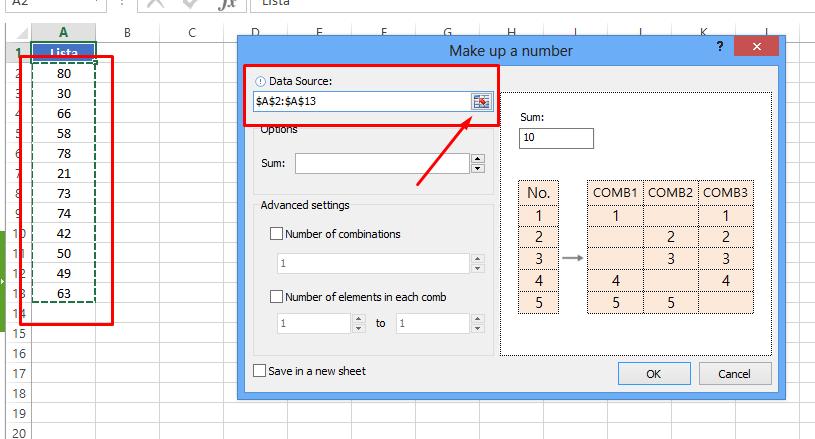 Dat Souce de combinação de soma no Excel
