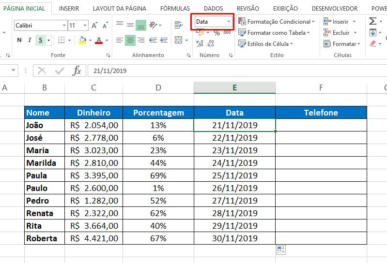 Data para Formatar Célula no Excel