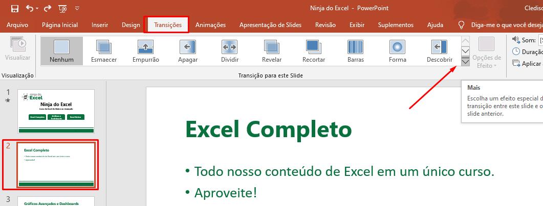 Escolhendo a segunda 2 transições de slide no PowerPoint