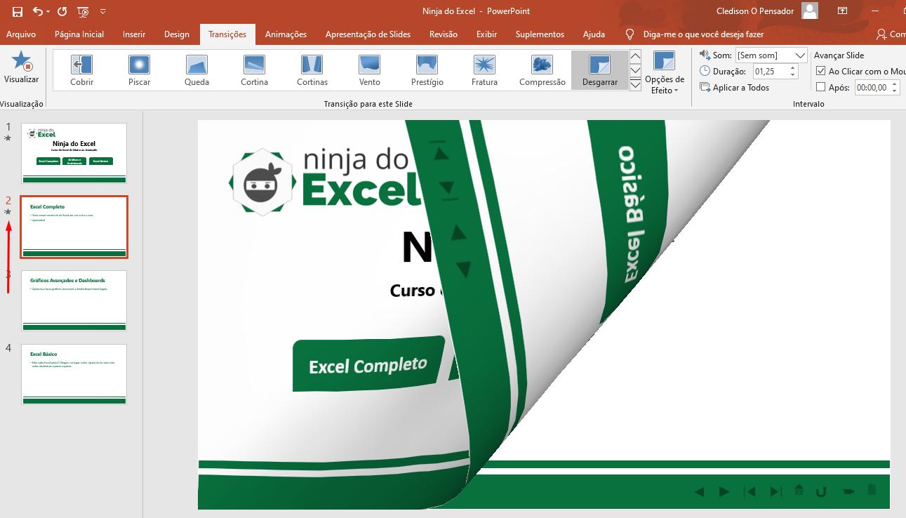Escolhendo a segunda transições de slide no PowerPoint