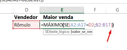 Fechando parêntese para funções MÁXIMO e SE no Excel