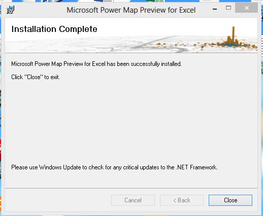 Finalizando instalação de gráfico de mapa no Excel