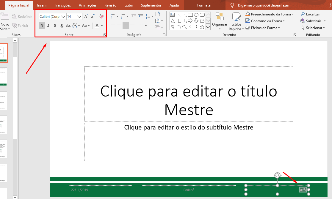 Como ficou formatado o número em Slide no PowerPoint