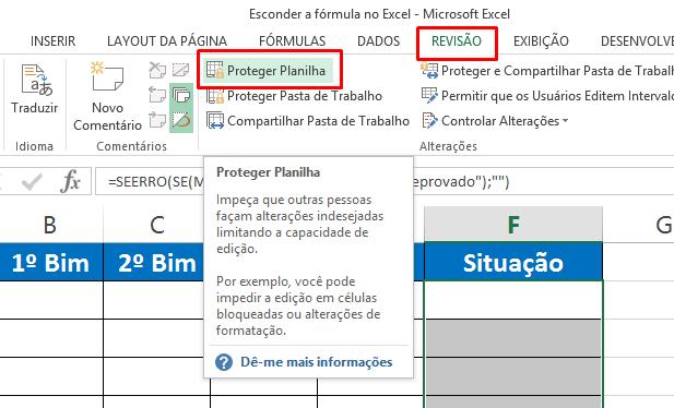 Guia revisão para Esconder a fórmula no Excel