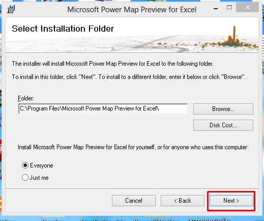 Pasta para instalar o gráfico de mapa no Excel