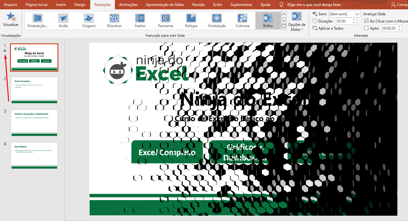 Primeira estrelha de transições de slide no PowerPoint