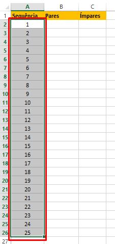 Primeira sequência numérica no Excel