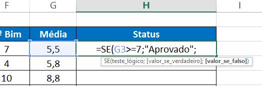 Primeiro argumento da função SE aninhada no Excel