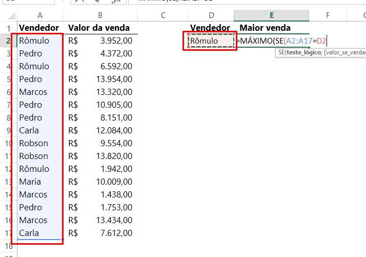 Primeiro argumento de SE para funções MÁXIMO e SE no Excel