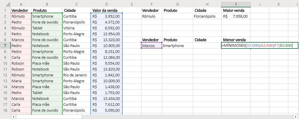 Quarto agumento de Funções MÁXIMOSES e MÍNIMOSES no Excel mínimo